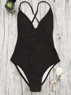 V Neck High Cut One Piece Swimsuit - Black M