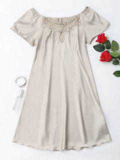 Short Sleeve Satin Lounge Sleep Dress - Complexion Xl