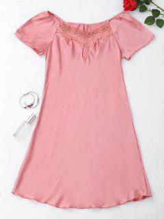 Short Sleeve Satin Lounge Sleep Dress - Pink 3xl