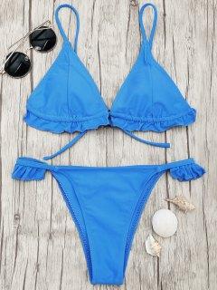 Frilled V String Tanga Bikini Set - Blue M