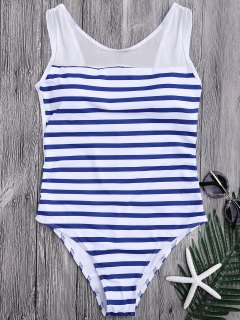 Mesh Inset Nautical Striped One Piece Swimsuit - Blue And White M