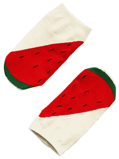 Funny Fruit Pattern Ankle Socks - Red