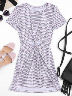 Twist Stripes Cut Out Mini Dress - Stripe M