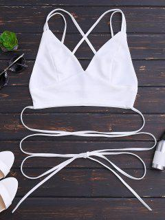 Bralette Crossover Strappy Crop Top - White S