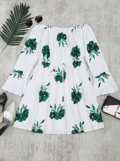 Floral Print Long Sleeve Dress - Green S