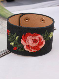 Chinese Embroidery Faux Leather Flower Bracelet - Black