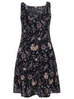 Plus Size Wide Strap Floral Tank Dress - Black 5xl