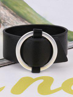 Artificial Leather Metal Circle Bracelet - Black