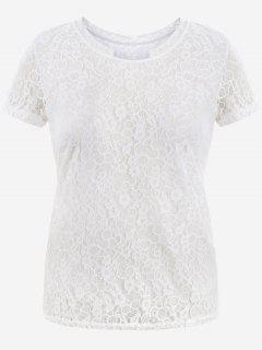 Short Sleeve Plus Size Lace Top - White 2xl