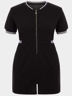 Zipper Contrast Stripe Plus Size Dress With Pockets - Black 3xl
