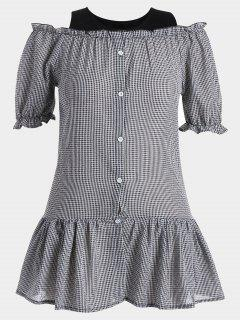 Ruffled Cold Shoulder Checked Plus Size Dress - Plaid 3xl