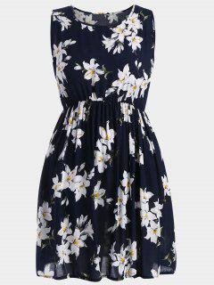 A Line Sleeveless Floral Plus Size Dress - Deep Blue 5xl