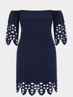 Plus Size Off Shoulder Laser Cut Trapeze Dress - Purplish Blue 2xl