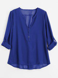 V Neck Button Embellished Blouse - Blue S