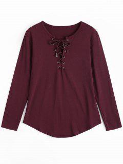 T-shirt Plongeant Manches Longues à Lacets - Rouge Vineux  S