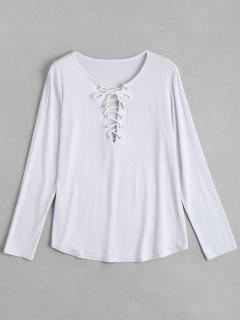 Lace Up Long Sleeve Plunge Tee - White S