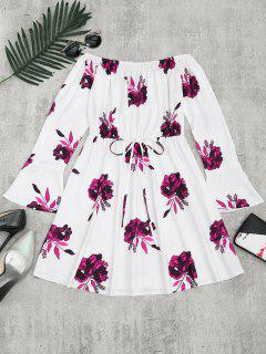 Floral Print Long Sleeve Dress - Plum L