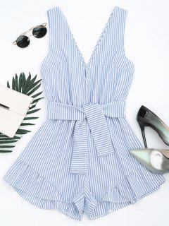 Plunging Neck Belted Striped Romper - Bande Bleu L