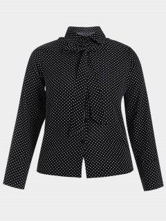 Bowknot Polka Dot Plus Size Shirt - Black 4xl