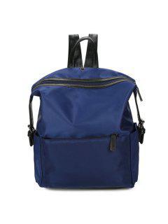 Nylon Backpack With Headphone Hole - Blue