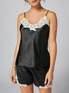 Satin Embroidered Trim Cami Pajama Set - Black M