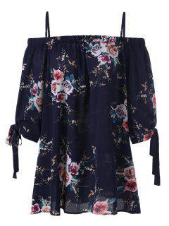 Plus Size Floral Cold Shoulder Blouse - Purplish Blue Xl