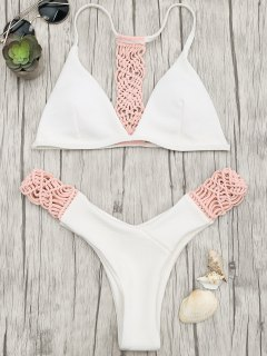Padded Macrame Thong Bikini Set - Pink And White L