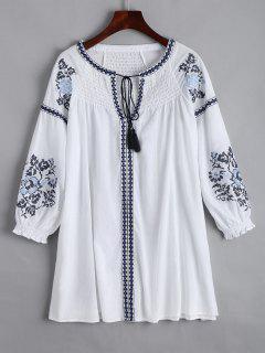 Mini Vestido Bordado Del Panel De Smocked - Blanco S