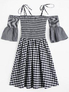 Flare Sleeve Cami Smocked Plaid Dress - Plaid S