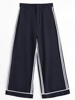 Casual Striped Gaucho Pants - Black L