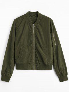 Zipper Plain Bomber Jacket - Army Green M