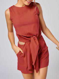 Sleeveless Knotted Top And Pockets Shorts Set - Jacinth Xl