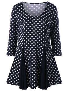 Plus Size Polka Dot Top - Black White 4xl