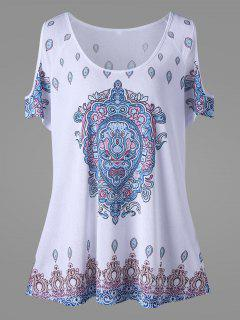 Plus Size Cold Shoulder Tribe Print Top - White 4xl