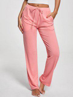Pantalones Verticales Con Cordón De Bolsillo - Rosado Xl