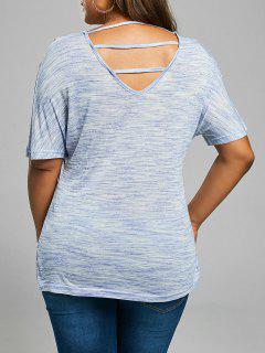 Zurück Ausschnitt Plus Size V Neck T-Shirt - Blaugrau 4xl