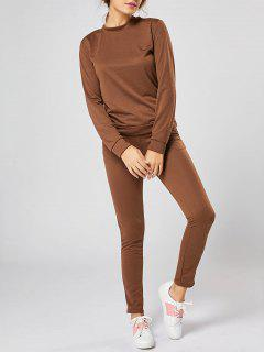Casual Long Sleeve Track Two Piece Set - Coffee S