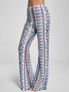 Bohemian Paisley Print Flare Pants - Blanc Xl