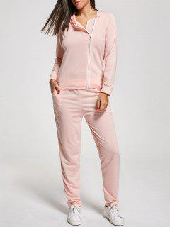 Long Sleeve Zip Up Two Piece Tracksuit - Pink Xl