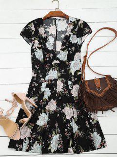 Blumendruck Ausschnitt Kleid - Schwarz L