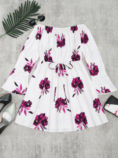Vestido De Manga Larga Con Estampado Floral - Ciruela L