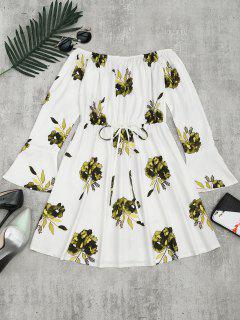 Floral Print Long Sleeve Dress - Yellow Xl