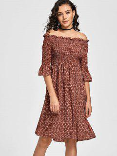Tiny Floral Smocked Off Shoulder Midi Dress - Coffee S