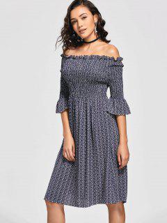 Tiny Floral Smocked Off Shoulder Midi Dress - Purplish Blue L