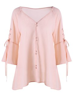 V-Ausschnitt  Bluse Mit Schnürung Am Ärmel Und Knopf Vorne - Pink 2xl