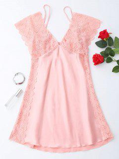 Lace Satin Mini Sleep Dress - Pink L