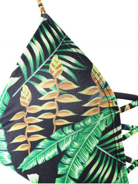 trendy Backless Plunge Monokini with Tropical Print - GREEN S Mobile