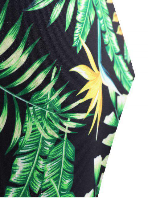Backless Plunge Maillots de bain avec imprimé tropical - Vert XL Mobile