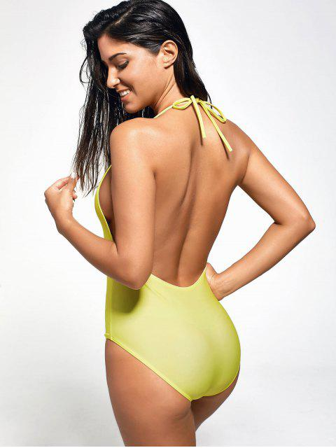 latest Halter Pineapple Plunge One Piece Swimsuit - YELLOW XL Mobile