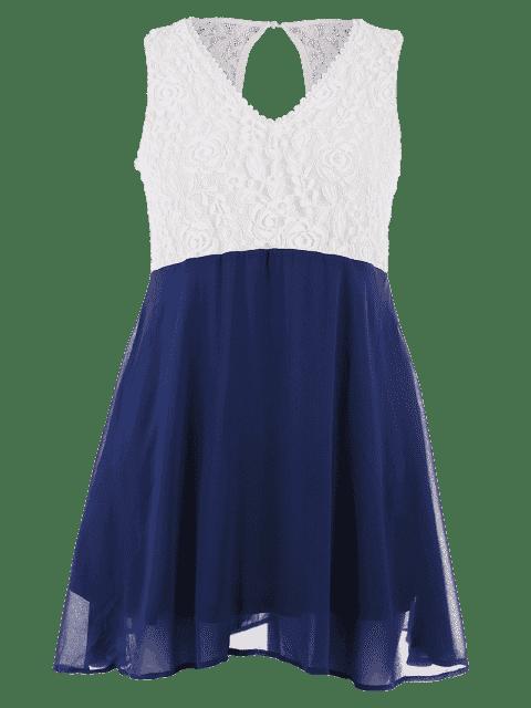 Robe en dentelle à deux tons - Bleu et Blanc 5XL Mobile